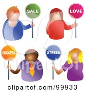 Royalty Free RF Clipart Illustration Of A Digital Collage Of Business Men And Women Holding Sale Love Success And Stress Signs by Prawny
