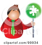 Royalty Free RF Clipart Illustration Of A Businessman Holding A Puzzle Sign by Prawny