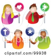 Royalty Free RF Clipart Illustration Of A Digital Collage Of Business Men And Women Holding Love Puzzle Religion And Star Signs by Prawny