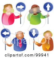 Royalty Free RF Clipart Illustration Of A Digital Collage Of Business Men And Women Holding Arrow Signs
