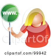 Royalty Free RF Clipart Illustration Of A Businesswoman Holding A WWW Sign