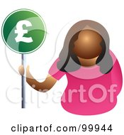 Royalty Free RF Clipart Illustration Of A Businesswoman Holding A Pound Sign