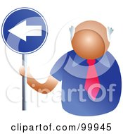 Royalty Free RF Clipart Illustration Of A Businessman Holding A Left Arrow Sign