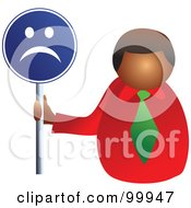 Royalty Free RF Clipart Illustration Of A Businessman Holding A Sad Face Sign