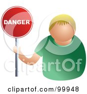 Royalty Free RF Clipart Illustration Of A Businessman Holding A Danger Sign