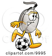 Clipart Picture Of A Computer Mouse Mascot Cartoon Character Kicking A Soccer Ball