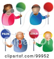 Royalty Free RF Clipart Illustration Of A Digital Collage Of Business Men And Women Holding Pain Sold And Blank Signs