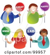 Royalty Free RF Clipart Illustration Of A Digital Collage Of Business Men And Women Holding Chat Happy Www And Sad Signs