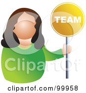 Royalty Free RF Clipart Illustration Of A Businesswoman Holding A Team Sign