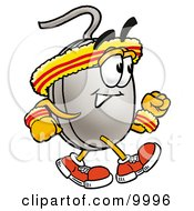 Computer Mouse Mascot Cartoon Character Speed Walking Or Jogging