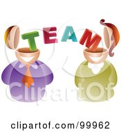 Royalty Free RF Clipart Illustration Of A Business Man And Woman With Team Brains