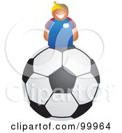 Royalty Free RF Clipart Illustration Of A Happy Man On A Soccer Ball by Prawny