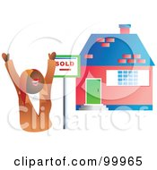 Royalty Free RF Clipart Illustration Of A Female Realtor Standing By A Sold House