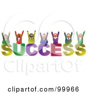 Royalty Free RF Clipart Illustration Of A Business Team Celebrating On SUCCESS by Prawny #COLLC99966-0089