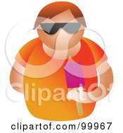 Royalty Free RF Clipart Illustration Of A Man Wearing Sunglasses And Eating A Popsicle by Prawny