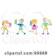 Royalty Free RF Clipart Illustration Of Stick Children With Cell Phones