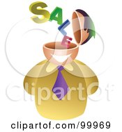 Royalty Free RF Clipart Illustration Of A Businessman With A Sale Brain by Prawny