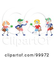 Royalty Free RF Clipart Illustration Of Stick School Children With Apples by Prawny