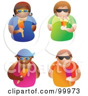 Royalty Free RF Clipart Illustration Of A Digital Collage Of Four Men And Women Wearing Shades And Eating Ice Cream And Popsicles by Prawny