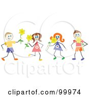 Royalty Free RF Clipart Illustration Of Stick Children With Daffodils