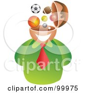 Royalty Free RF Clipart Illustration Of A Businessman With A Sports Brain by Prawny