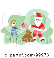 Royalty Free RF Clipart Illustration Of Santa Giving A Gift To A Stick Boy by Prawny