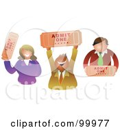 Royalty Free RF Clipart Illustration Of A Business Team Holding Tickets