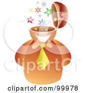Royalty Free RF Clipart Illustration Of A Businessman With A Star Brain by Prawny