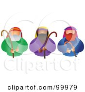 Royalty Free RF Clipart Illustration Of Three Shepherds Holding Their Staffs by Prawny