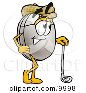 Clipart Picture Of A Computer Mouse Mascot Cartoon Character Leaning On A Golf Club While Golfing