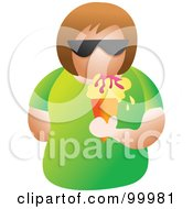 Royalty Free RF Clipart Illustration Of A Woman Wearing Shades And Eating An Ice Cream Cone
