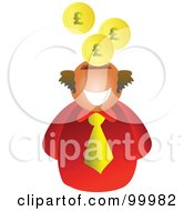 Royalty Free RF Clipart Illustration Of A Businessman With A Slot Head And Pound Coins by Prawny