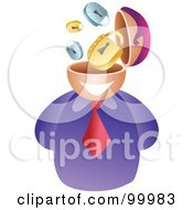 Royalty Free RF Clipart Illustration Of A Businessman With A Security Brain by Prawny