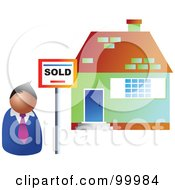 Royalty Free RF Clipart Illustration Of A Male Realtor Standing By A Sold House