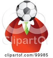 Royalty Free RF Clipart Illustration Of A Businessman With A Soccer Ball Face by Prawny