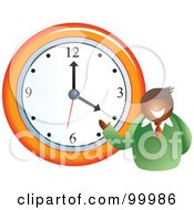 Royalty Free RF Clipart Illustration Of A Businessman Standing By A Wall Clock by Prawny