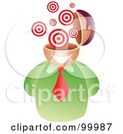 Royalty Free RF Clipart Illustration Of A Businessman With A Bullseye Brain