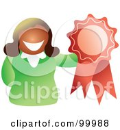 Royalty Free RF Clipart Illustration Of A Businesswoman Holding A Ribbon