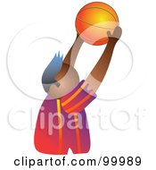 Royalty Free RF Clipart Illustration Of A Man Holding Up A Basketball by Prawny