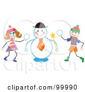 Royalty Free RF Clipart Illustration Of Stick Children Making A Snowman by Prawny