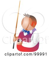 Royalty Free RF Clipart Illustration Of A Billiards Player Holding A Pool Ball And Stick by Prawny