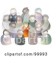 Royalty Free RF Clipart Illustration Of A Green Haired Boy Standing Out From A Crowd