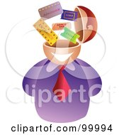 Royalty Free RF Clipart Illustration Of A Businessman With A Ticket Brain by Prawny