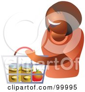 Royalty Free RF Clipart Illustration Of A Happy Lady Carrying A Shopping Basket