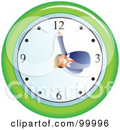 Royalty Free RF Clipart Illustration Of A Businessman On A Wall Clock by Prawny