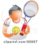 Royalty Free RF Clipart Illustration Of A Tennis Player With A Ball And Racket