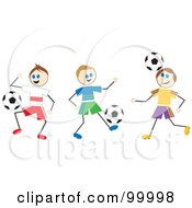Royalty Free RF Clipart Illustration Of Stick Boys Playing Soccer