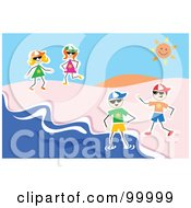 Royalty Free RF Clipart Illustration Of Stick Kids Playing At A Beach by Prawny