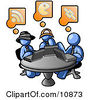 Three Blue Men Using Laptops In An Internet Cafe Clipart Illustration by Leo Blanchette