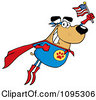Clipart Flying Super Dog Flashing A Smile And Holding An American Flag Royalty Free Vector Illustration by Hit Toon